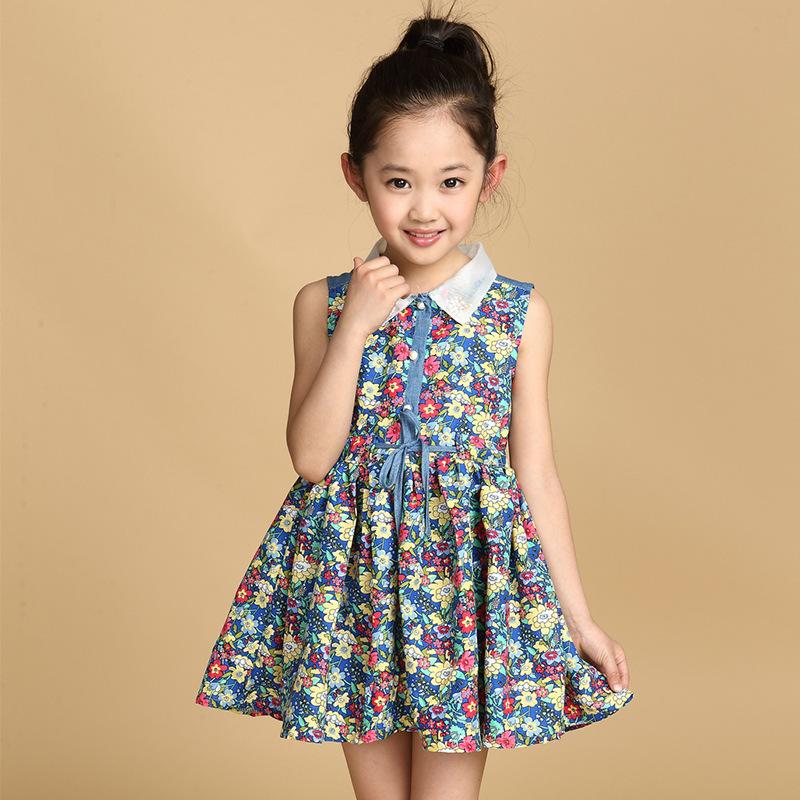 Children clothing girls floral dress princess casual dress girls sleeveless beach dress 2-7 years old(China (Mainland))