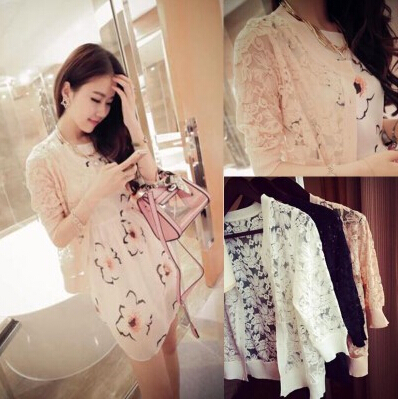 Summer dress new sunscreen ladies garment knitting splicing lace top coat thin shawl is prevented bask in unlined upper garment(China (Mainland))