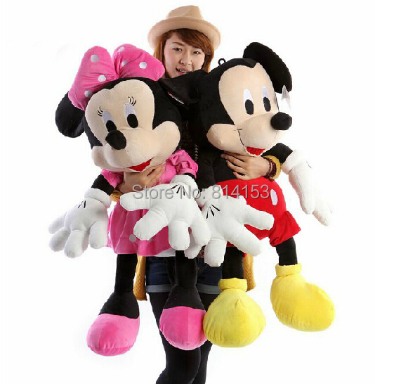 Free Shipping 35cm 1 pair lovely mickey mouse and minnie mouse plush toys stuffed dolls for children's gift(China (Mainland))