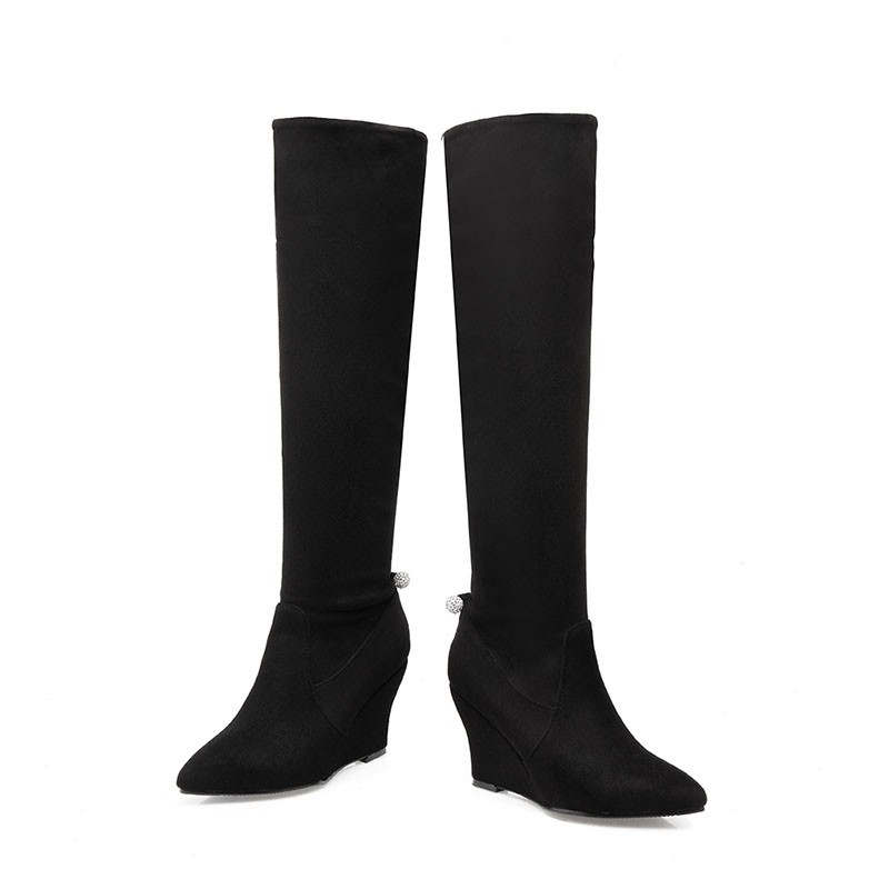 Big Size 34-43 Fashion 2 Styles Knee Boots Women's Winter Boots Fall Wedges Sexy Rhinestone Female Footwear Shoes Woman