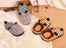 2013 new autumn and winter lion cotton slippers, cute couple models home floor warm slippers, Valentine's Day gift(China (Mainland))