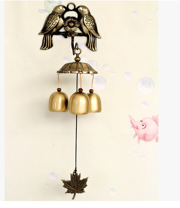 3 Bells bird Wind Chimes Hangings Door Home Decoration Japanese Style Copper Metal Bell Accessories Birthday Gift(China (Mainland))