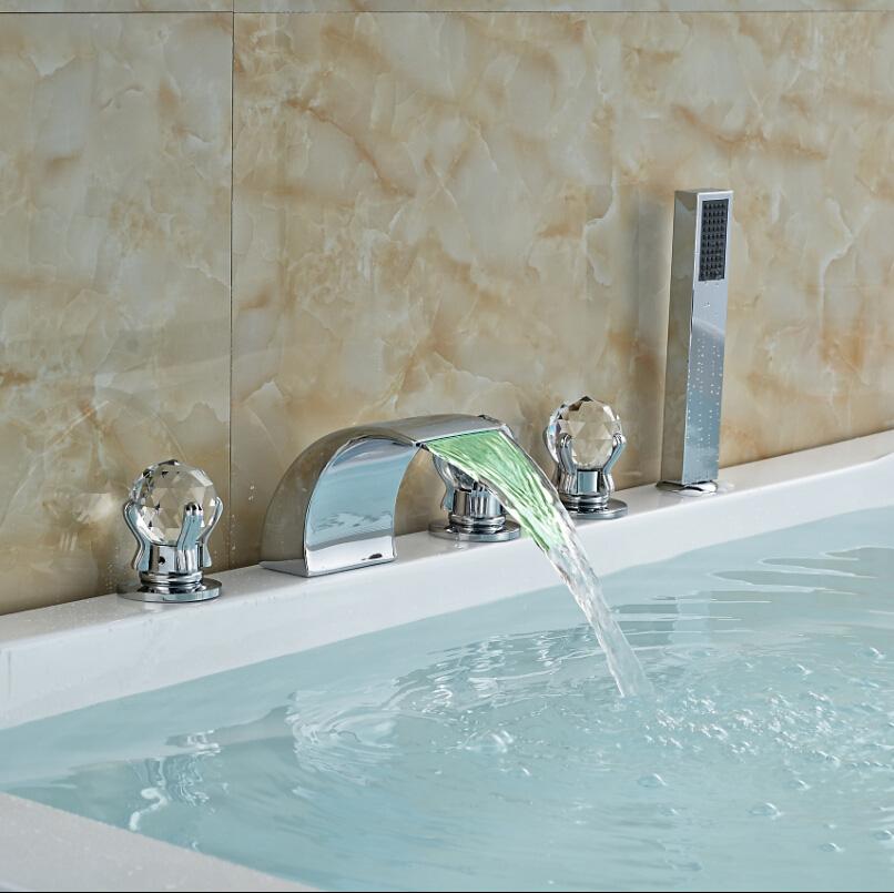 Фотография Deck Mount LED Color Changing Bathroom Tub Faucet Set Cristal Handles Bathtub Mixer Tap with Handshower