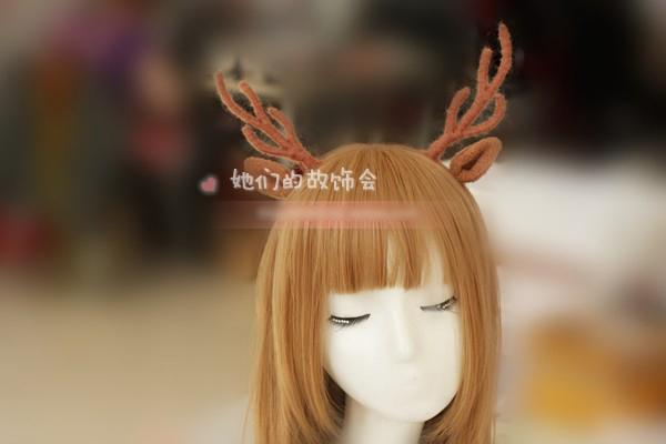 Japanese Mori Girl Cosplay Party Christmas Elk Hair Hoop Hairpin Corner Hair Ornaments Handmade Line Cosplay Costume(China (Mainland))