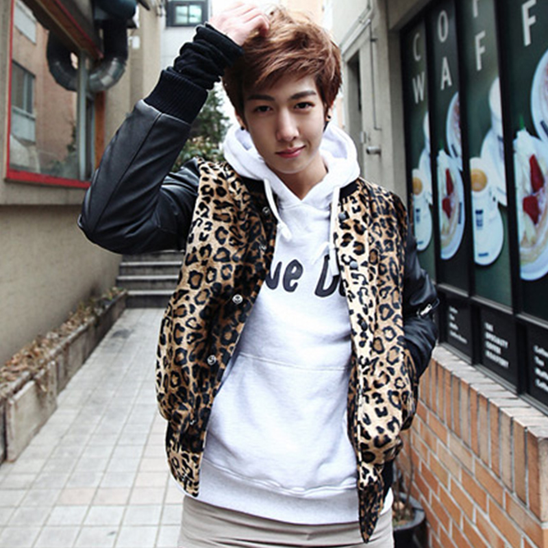 Y85f90 2015 autumn and winter fashion lovers baseball shirt men s leopard print fur patchwork vintage