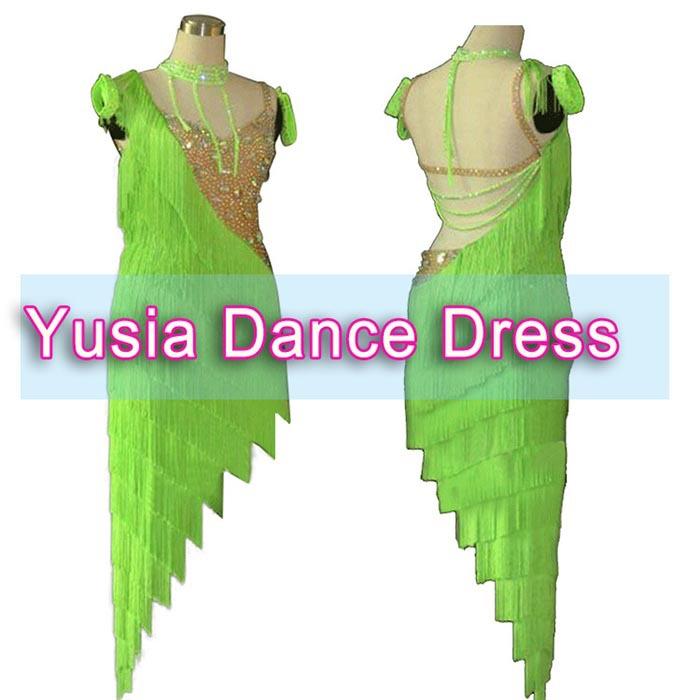 Sleeveless and Backless Green standard fringe latin dresses LB101(China (Mainland))