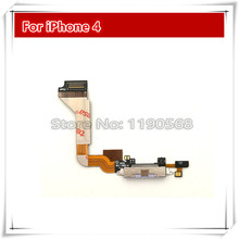 High Quality NEW Dock connector charging port flex cable for iPhone 4 4G 4S black/white Replacement Parts Free shipping
