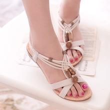 Classic women brand comfort Summer beach Bohemian shoes slope female students flat Heel Flip beaded sandals Baok-B-2