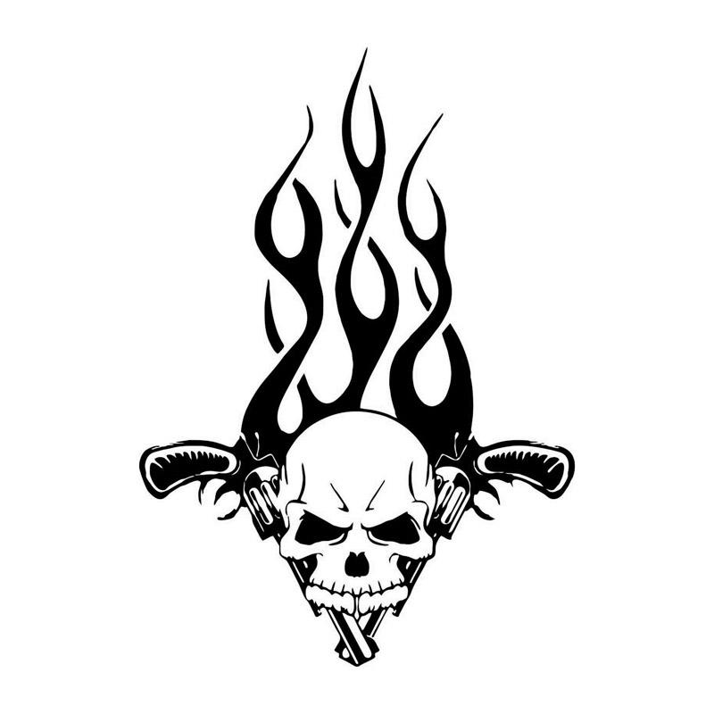 15.6*22CM Fashion Custom Gun Skull Flames Bumper Sticker Vinyl Decals Covering The Body Black/Silver C7-0505(China (Mainland))