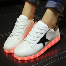 2016 Led Shoes Women&Men LED Light Casual Shoes Stripe Women LED Luminous Shoes Chaussure Lumineuse basket femme