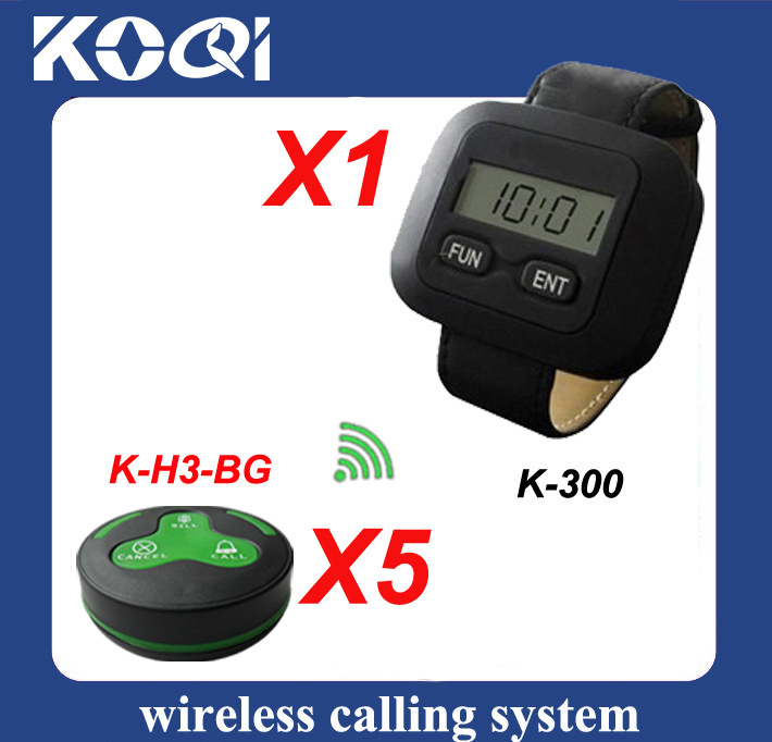Wireless Calling System for Restaurant ,5pcs of H3-BG buttons and 1 pcs of K-300 display receiver(China (Mainland))