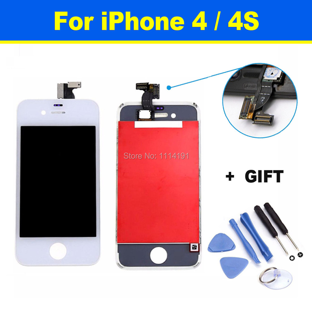 FREE SHIPPING Complete Original LCD Display + Touch Screen Digitizer Panel + Holder Assembly Frame Replacement For iPhone 4 4S(China (Mainland))
