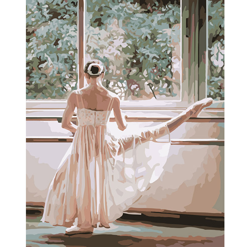 New diy painting by numbers canvas oil painting Practicing dance girl canvas pictures for living room wall art canvas print(China (Mainland))