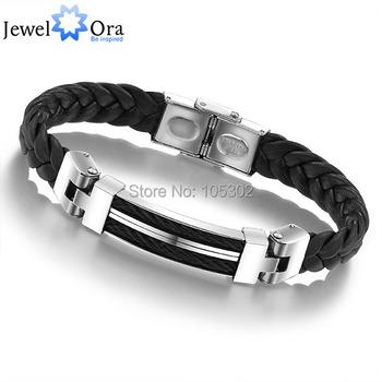 Wholesale Wide Weave Chain Bracelet Men Jewelry 19.5cm 304 Stainless Steel Men Leather Bracelet (JewelOra BA100617)