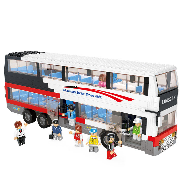 High quality luxurious double decker bus model building kits 3D children early education block toys(China (Mainland))