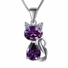 Silver Plated Crystal Cat Necklace
