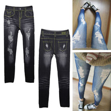 Punk Close-fitting False Hole Girl Imitation Jeans Leggings Pencil Pants BS88(China (Mainland))