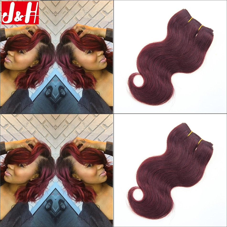 Short Hair Brazilian 99J Human Hair Weaves Body Wave Burgundy Hair ...