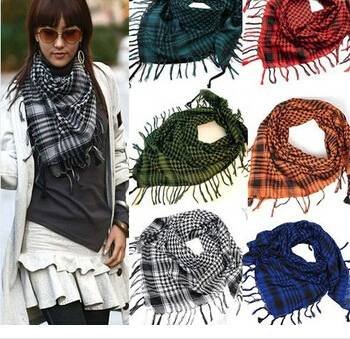 HOT SALE# Unisex Women Men Checkered Arab Grid Neck Keffiyeh Palestine Scarf Wrap#!(China (Mainland))