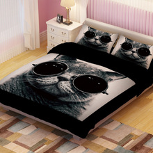 UPS FedEx Twin/Full/King Size Lovely Cat Children Bedding Set Quilt Cover&Pillowcase Cartoon Printed Home Textiles Bedclothes(China (Mainland))