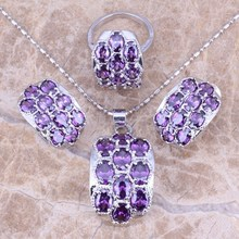 Hot ! Purple Amethyst Silver Jewelry Sets Earrings Pendant Ring For Women Size 5.5 / 6 / 7 / 8 / 9 / 10 S0009(China (Mainland))