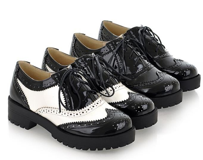 2015Vintage Black/White Round Toe Leather Oxfords Shoe Womens Ladies Lace Flat Platform Brogue Creepers Shoes Plus Size 34-43 - loves shoes store