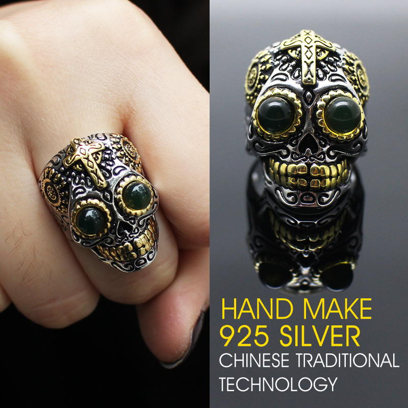Hot Sale 925 silver Hand make amber Punk Style Flower Skull Biker Ring Fashion Skeleton Jewelry free shipping<br><br>Aliexpress