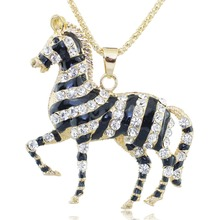 Exquisite Zebra Horse Necklace Black Enamel Crystal Long Chain Necklaces Pendants Fashion Jewelry For Women Gift M306(China (Mainland))