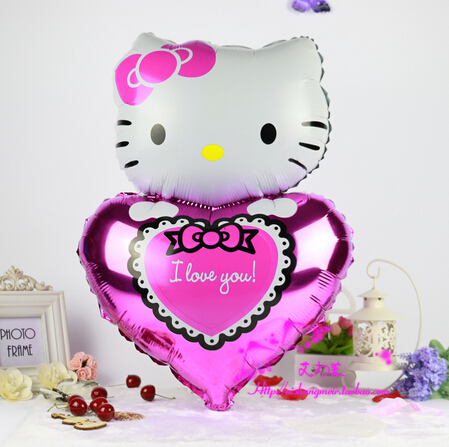 77*48cm rose Hello Kitty balloons 10pcs/lot KT Cat foil ballons cartoon BALOES for birthday wedding party inflatable air balls(China (Mainland))