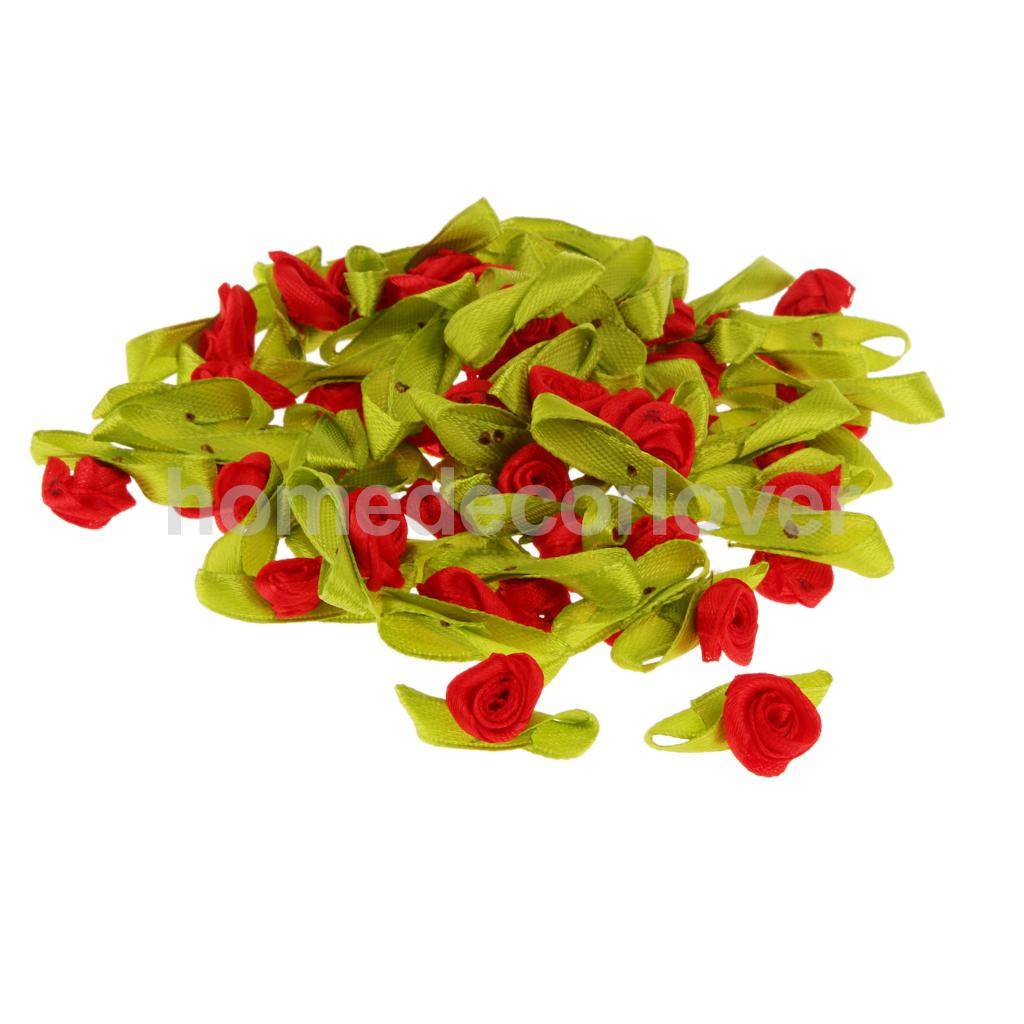 100x Ribbon Rose Head with Leaf Artificial Flower Party Gift Box Decor 4 Colors(China (Mainland))