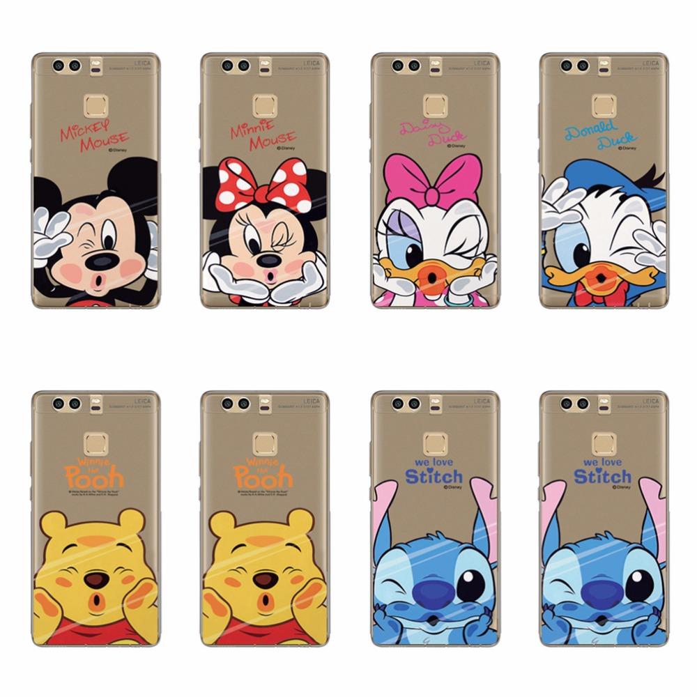 Cartoon Winnie Pooh Stitch Donald Duck Minnie Mickey Painting TPU Case For Huawe P7 P8 P9 Lite Plus Transparent Soft Cover Funda(China (Mainland))