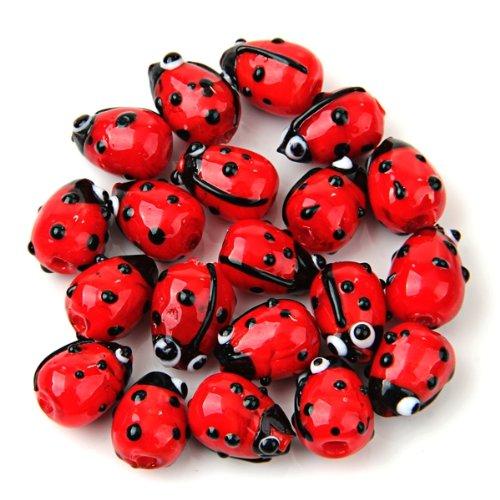 10x( 2016 20 Red Lampwork Glass Ladybug Ladybird Loose Beads 12mm HOT