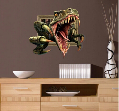 Free Shipping Fierce dinosaur 3D Art Wall Decals/Removable PVC Wall stickers or your home or office Decor 64*58cm(China (Mainland))