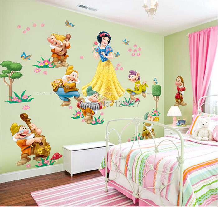 Cartoon Snow White Wall Decals Wall Stickers For Kids Room