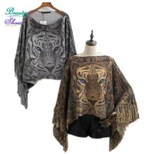 Pullovers 2016 New Autumn Winter Women Loose Long Batwing Sleeve Irregular Hem Tassel Tiger Casual Printed Sweaters Wrap Swing(China (Mainland))