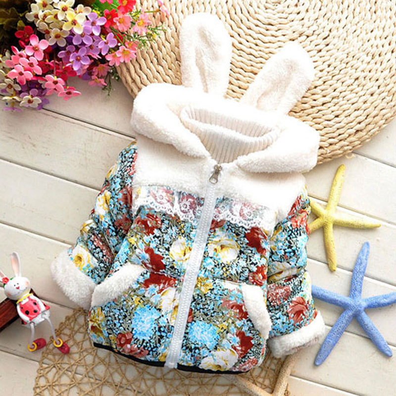 2015 new winter 0-2 Years Brand Carter girl hooded coat girls cotton Fashion Lovely Rabbit Children jacket,Kids Down Outer kid(China (Mainland))