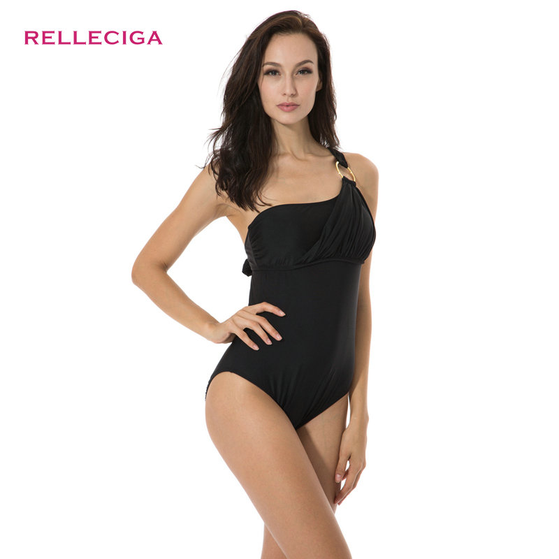 RELLECIGA Black Asymmetrical Neckline Teal One-piece Swimwear with Goldtone Ring and Adjustable Ties at Neck Bathing Suit(China (Mainland))