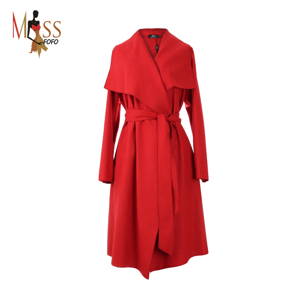 Hot sale 2015 new autumn high fashion trend street women's wool blend Trench Coat Casual long Outerwear loose clothing for lady(China (Mainland))