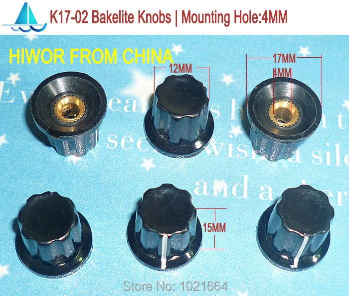 (20pcs/lot) K17-02 Bakelite Knob, Mounting Hole 4MM, For Rotary potentiometer & Encoder & Rotary Switch(China (Mainland))