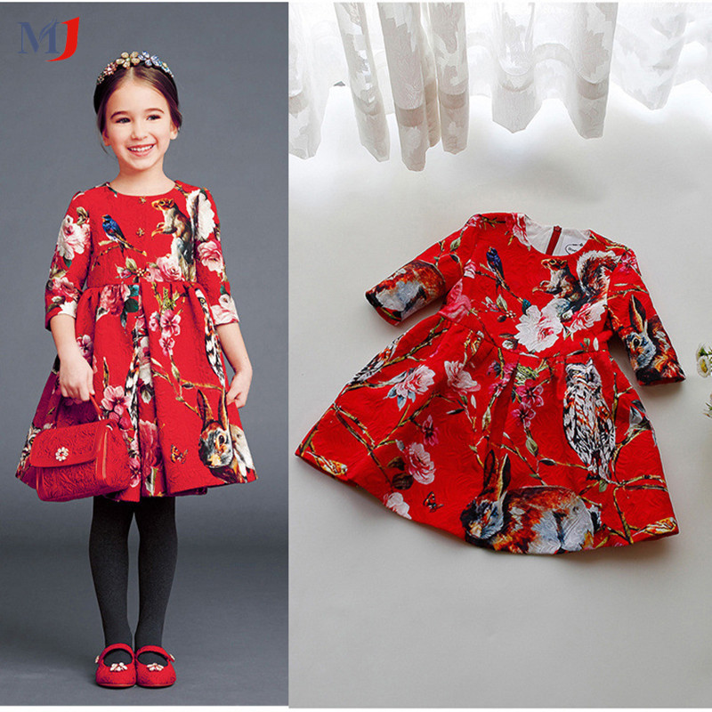 2015 Autumn children girls dresses custom jacquard dress Chinese style flower big red long-sleeved princess brand quality - MJ Clothes store