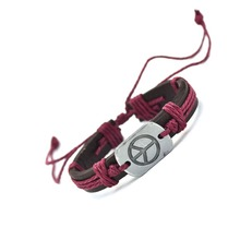 Peace Charm Genuine Leather Bracelet Cuff Braided Wrap Bracelet Bangles Fashion For Women Men Gifts