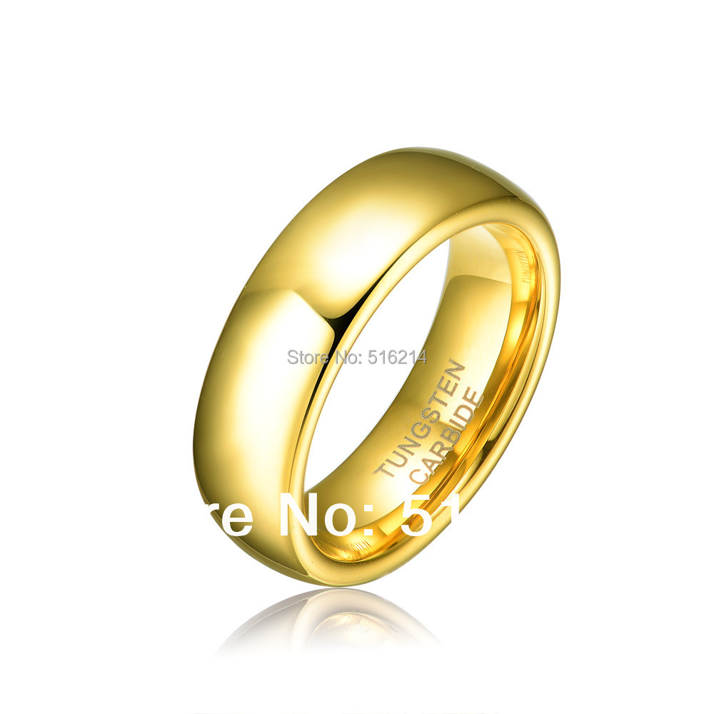 Free Shipping 6MM 18K Gold Plated Tungsten Carbide Gold Ring Men Women S Wedding Engagement