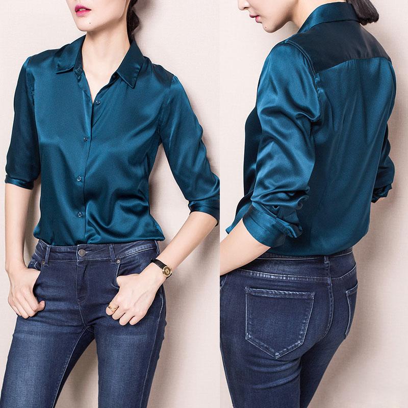 S-XXXl Fashion Red White Black satin silk blouse ladies casual long sleeve button Turndown Collar real silk satin blouses shirts(China (Mainland))