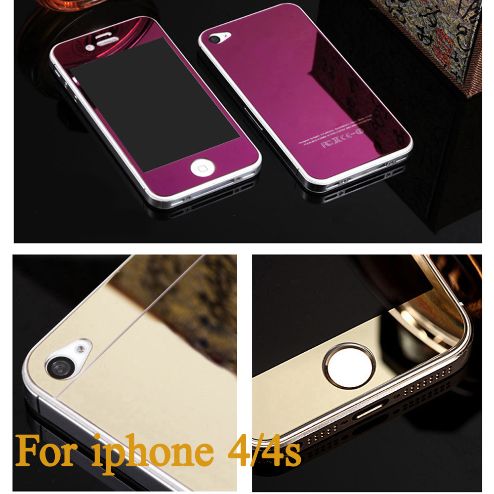 Front+Back Tempered Glass For Apple For iPhone 4S 4 Full Cover Screen Protector Mirror Effect Color Protective Film(China (Mainland))
