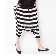 Fashion Women Drop Crotch Baggy Pants Capris Cropped Harem Pants Trousers B83(China (Mainland))