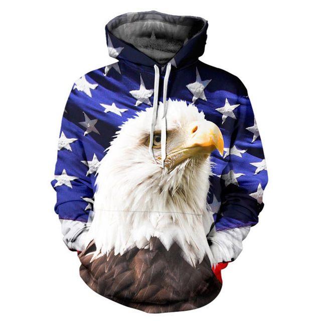 Флаг сша мужчин / женщин толстовка с капюшоном 3d печать звезды орел с длинным рукавом ...