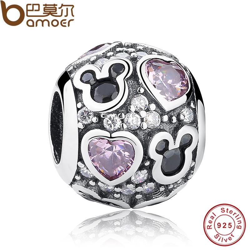 New Year Baby Gift Charms Fit Original Bracelet Necklace 925 Sterling Silver Mouse Pink Heart Bead Jewelry Making PAS128(China (Mainland))