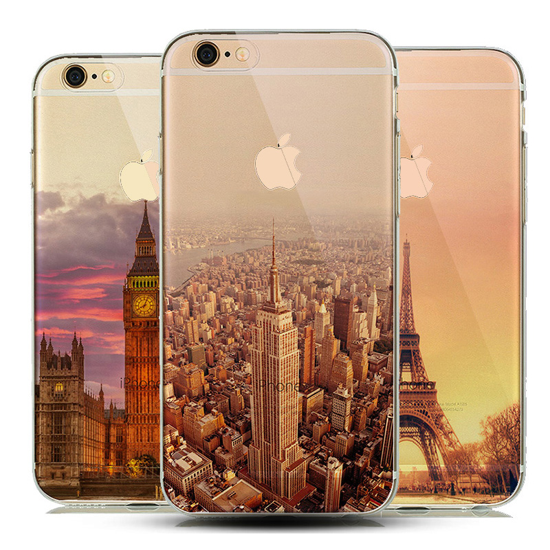 Cool Semi -Transparent Clear TPU Skin Phone Case Cover For iPhone 5 5S 6 6s fundas New York City Empire Building Effiel Tower(China (Mainland))