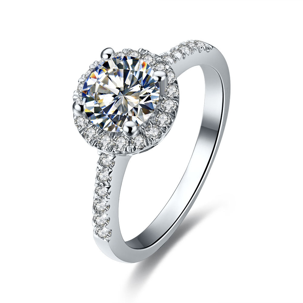1CT Halo Style Solid 18K White Gold Ring Round Brilliant Synthetic Diamond Female Ring Au750 Gold Statement Jewelry Ring(China (Mainland))