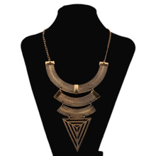 Geometric Triangle Big Brand Necklace Ancient Gold Silver Ethnic Retro Exaggerated Accessories Jewelry For Women Wholesale